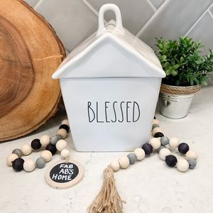 "Rae Dunn ""BLESSED"" House Shaped Canister Jar"